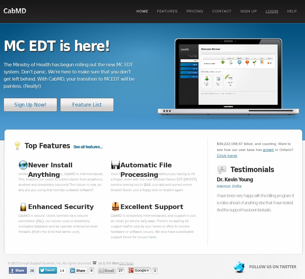cabMD website screenshot